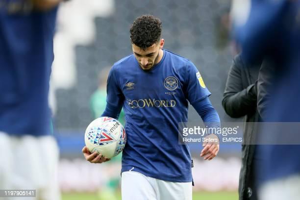 Brentford's Said Benrahma with the matchball Hull City v Brentford - Sky Bet Championship - KCOM Stadium .