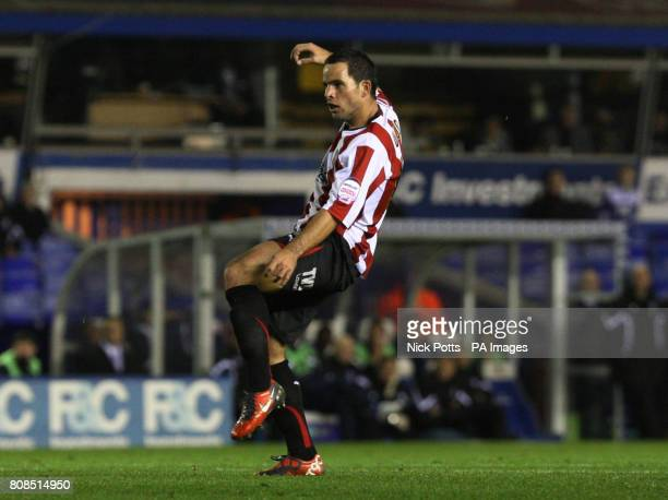 Brentford's Sam Wood scores the opening goal against Birmingham City during the Carling Cup Fourth Round match at St Andrew's, Birmingham.