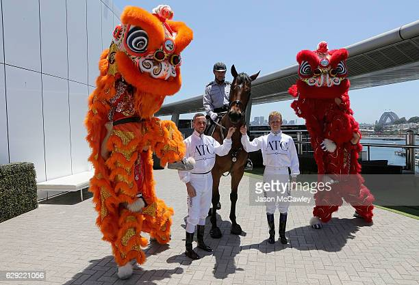 Brenton Avdualla and Kerrin McEvoy pose during the Chinese Festival of Racing launch event at The Star on December 12 2016 in Sydney Australia