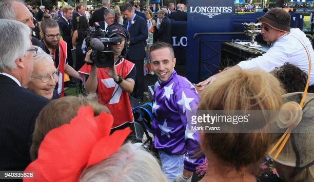 Brenton Avdulla returns to scale after winning on Cellerman in race 8 The Doncaster Prelude during Sydney Racing at Rosehill Gardens on March 31 2018...