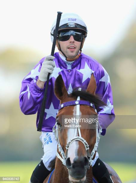 Brenton Avdulla returns to scale after winning race 8 on Cellerman during Sydney Racing at Rosehill Gardens on March 31 2018 in Sydney Australia