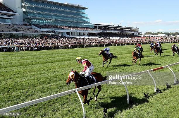 Brenton Avdulla rides Lasqueti Spirit to win race eight the Crown Oaks on Oaks Day at Flemington Racecourse on November 3 2016 in Melbourne Australia