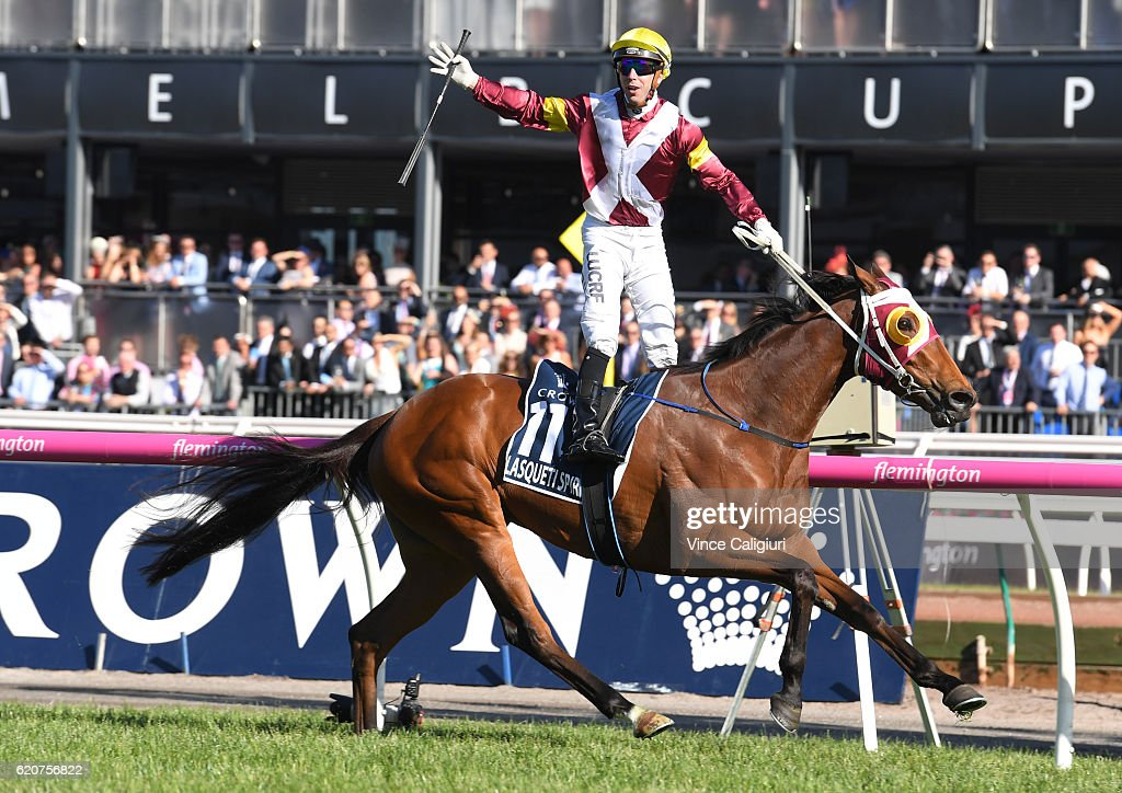 Brenton Avdulla riding Lasqueti Spirit wins Race 8, Crown Oaks on Oaks Day at Flemington Racecourse on November 3, 2016 in Melbourne, Australia.