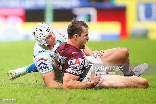 Brenton Lawrence of the Sea Eagles scores a try during the round 8 NRL match between the ManlyWarringah Sea Eagles and the Canberra Raiders at...