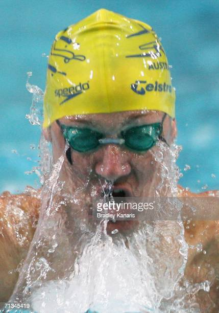 Brenton Rickard competes in the heats of the Men's 200m Breaststroke during day two of the 2006 Telstra Grand Prix Series 2 at the Chandler Aquatic...