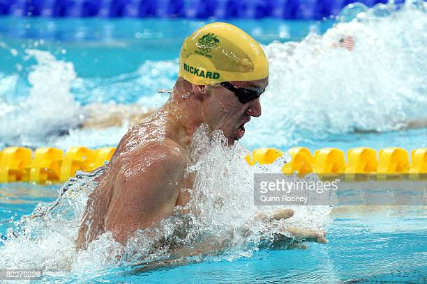 Brenton Rickard of Australia competes in the Men's 200m Breaststroke Heat 6 held at the National Aquatics Center on Day 4 of the Beijing 2008 Olympic...