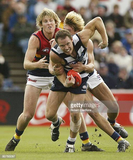 Brenton Sanderson number 27 of the Cats is challenged by his opponents during the round six AFL match between the Geelong Cats and the Adelaide Crows...