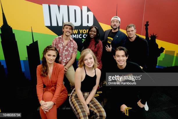 Brenton Thwaites Anna Diop Alan Ritchson Minka Kelly Teagan Croft and Ryan Potter of 'Titans' and Kevin Smith attend IMDb at New York Comic Con Day 1...