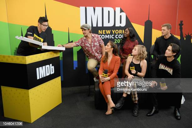 Brenton Thwaites Anna Diop Alan Ritchson Minka Kelly Teagan Croft and Ryan Potter of 'Titans' and Ian de Borja attend IMDb at New York Comic Con Day...