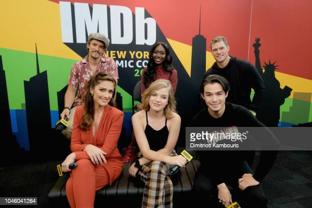 Brenton Thwaites Anna Diop Alan Ritchson Minka Kelly Teagan Croft and Ryan Potter of 'Titans' attend IMDb at New York Comic Con Day 1 at Javits...
