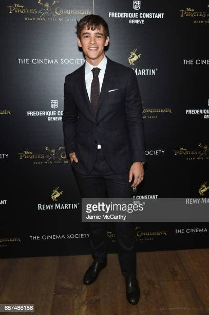Brenton Thwaites attends a screening of 'Pirates Of The Caribbean Dead Men Tell No Tales' hosted by The Cinema Society at Crosby Street Hotel on May...