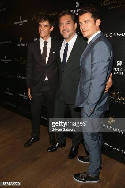 Brenton Thwaites Javier Bardem and Orlando Bloom attend The Cinema Society with Remy Martin Frederique Constant host a screening of Pirates of the...