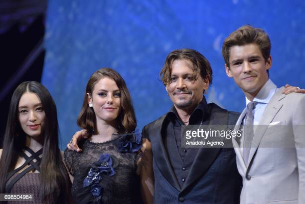 Brenton Thwaites Johnny Depp Kaya Scodelario and Chiaki Kuriyama attend the Japan Premiere of Pirates Of Caribbean Dead Men Tell No Tales in Tokyo...