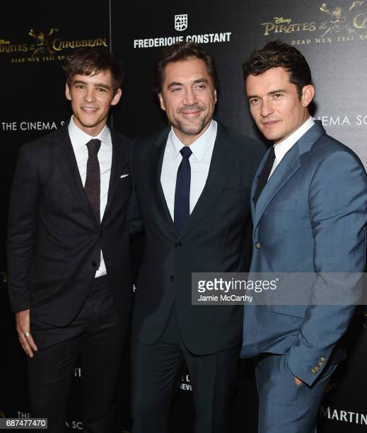 Brenton Thwaites Orlando Bloom and Javier Bardem attend a screening of Pirates Of The Caribbean Dead Men Tell No Tales hosted by The Cinema Society...