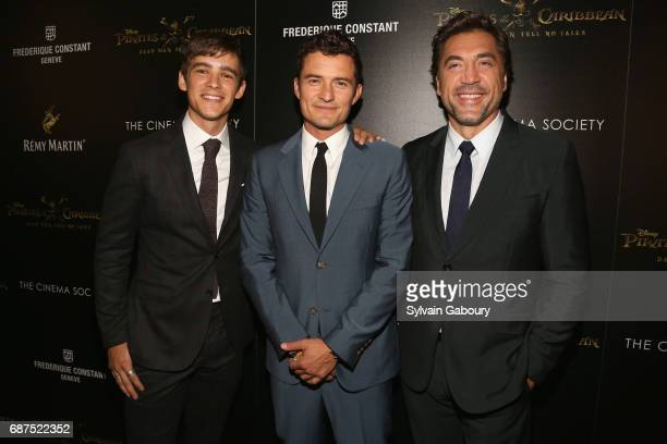 Brenton Thwaites Orlando Bloom and Javier Bardem attend The Cinema Society with Remy Martin Frederique Constant host a screening of Pirates of the...
