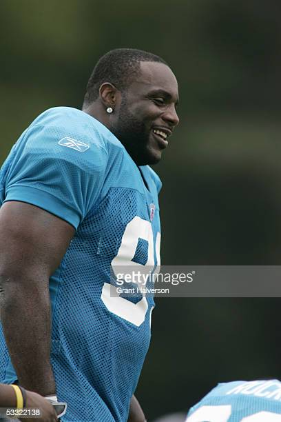 Brentson Buckner of the Carolina Panthers looks on during training camp on July 30 at Wofford College in Spartanburg South Carolina