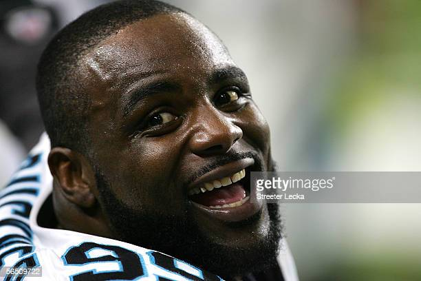 Brentson Buckner of the Carolina Panthers smiles on the sidelines during the 4th quarter of their game against of the Atlanta Falcons at the Georgia...