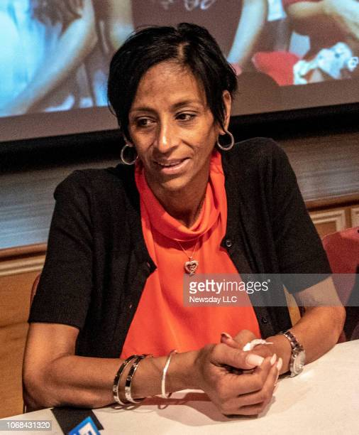 Antigang activist Evelyn Rodriguez mother of slain teen Kayla Cuevas at the Brentwood Public Library in Brentwood New York on August 17 2018