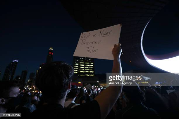 Breonna Taylor protestors gathered at the Barclays Center after no officers charged directly with Breonna Taylor's death by Louisville court in New...
