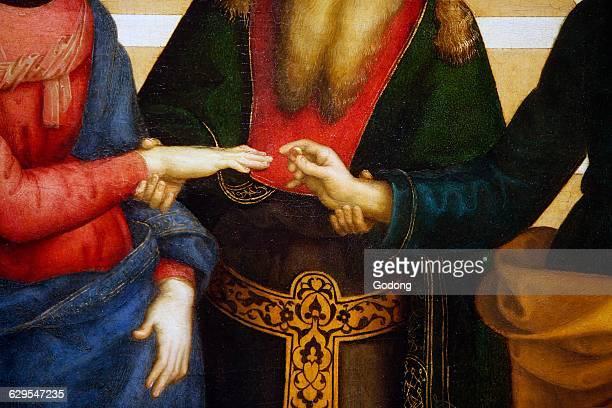 Brera gallery Milan The marriage of the Virgin Raffaello Sanzio 1504 Detail