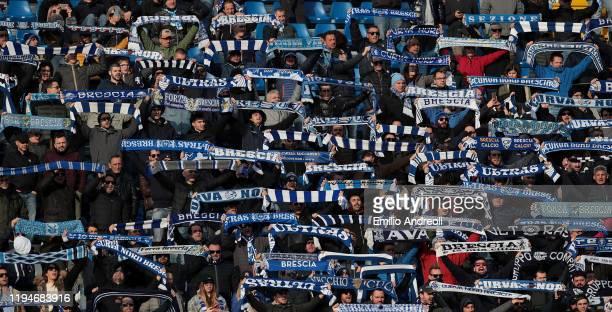 Brescia Calcio fans show their support during the Serie A match between Brescia Calcio and Cagliari Calcio at Stadio Mario Rigamonti on January 19...