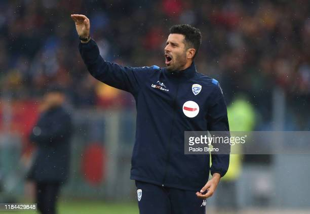 Brescia Calcio head coach Fabio Grosso gestures during the Serie A match between AS Roma and Brescia Calcio at Stadio Olimpico on November 24 2019 in...