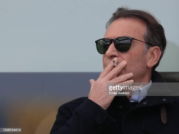Brescia Calcio President Massimo Cellino looks on during the Serie A match between Brescia Calcio and Udinese Calcio at Stadio Mario Rigamonti on...