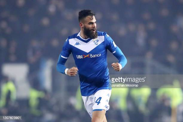 Brescia defender Jhon Chancellor celebrates after scoring to give the side a 10 lead during the Serie A match between Brescia Calcio and SSC Napoli...