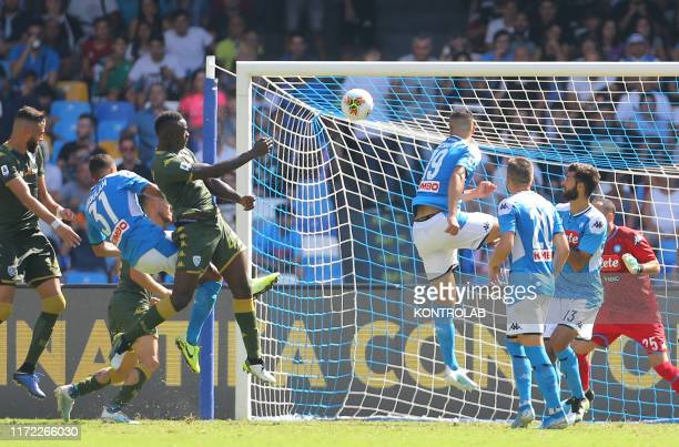 STADIUM NAPLES CAMPANIA ITALY Brescia's Italian forward Mario Balotelli scores during the Italian Serie A football match SSC Napoli vs Brescia Calcio...