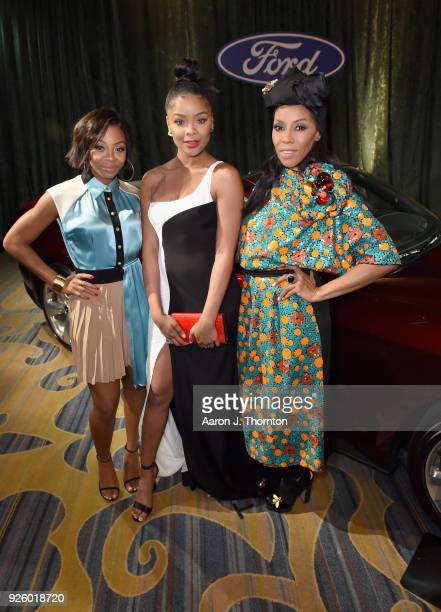 Bresha Webb Ajiona Alexus and June Ambrose attend the 2018 Essence Black Women In Hollywood Oscars Luncheon at Regent Beverly Wilshire Hotel on March...