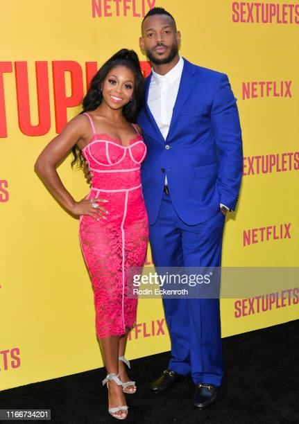 "Bresha Webb and Marlon Wayans attend the premiere of Netflix's ""Sextuplets"" at ArcLight Hollywood on August 07, 2019 in Hollywood, California."