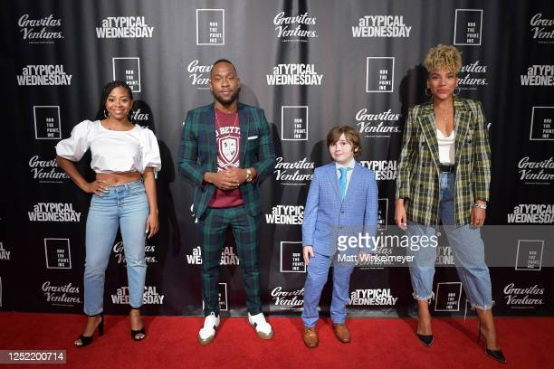 Bresha Webb J Lee Cooper J Friedman and Emmy RaverLampman attend aTypical Wednesday Los Angeles Premiere at The Montalban on June 24 2020 in...