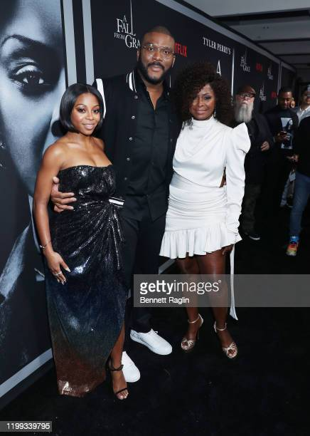 Bresha Webb Tyler Perry and Crystal Fox attend the Netflix Premiere for Tyler Perry's A Fall From Grace at Metrograph on January 13 2020 in New York...