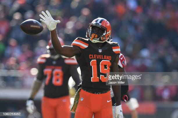 Breshad Perriman of the Cleveland Browns celebrates a first down against the Atlanta Falcons at FirstEnergy Stadium on November 11 2018 in Cleveland...