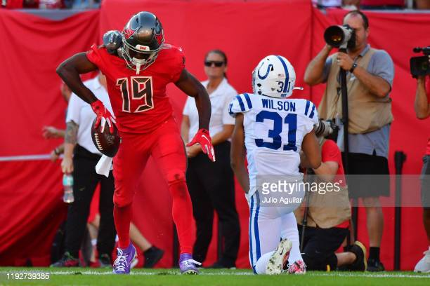 Breshad Perriman of the Tampa Bay Buccaneers celebrates after catching a 12yard touchdown pass in the fourth quarter of a football game against the...
