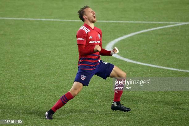 Bressan of FC Dallas celebrates a game-tying goal by Ricardo Pepi in the 93rd minute against the Portland Timbers during Round One of the MLS Cup...