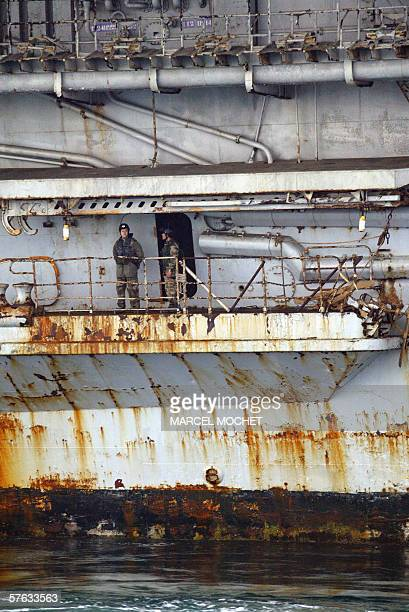 A closeup of Hull 790 aka giant aircraft carrier Clemenceau once a symbol of France's naval might during its arrival 17 May 2006 at the military...