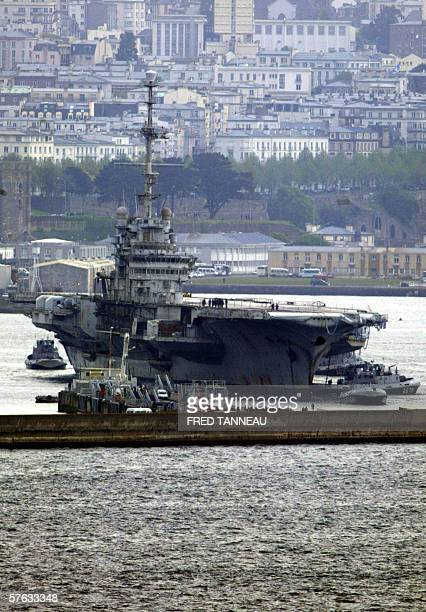 Hull 790 aka giant aircraft carrier Clemenceau once a symbol of France's naval might is docked 17 May 2006 after its arrival at the military seaport...