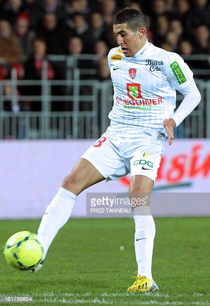 Brest midfielder Florian Raspentino controls the ball on February 16 2013 during the French L1 football match against Brest at the Francis Le Ble...
