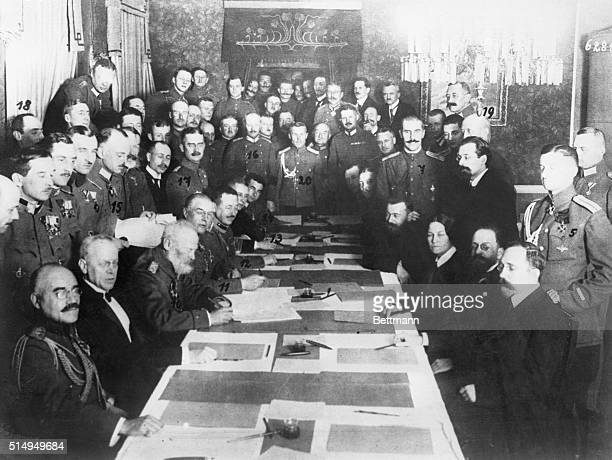 1/1918 BrestLitovsk Signing of the RussoTeuton Peace Parley at Brest Litovsk In the council chamber photo shows Prince Leopold the leader in the East...