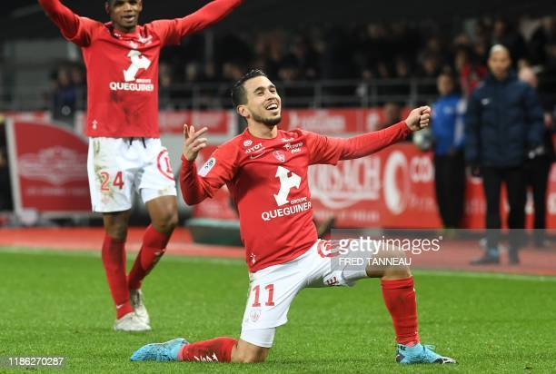 Brest's Argentine midfielder Cristian Battocchio celebrates after scoring a goal during the French L1 football match Brest against Strasbourg on...