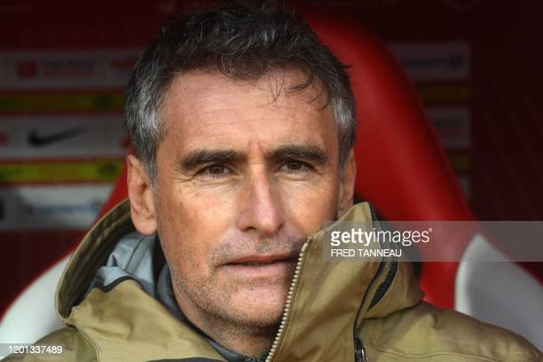 Brest's French coach Olivier Dall'Oglio looks on during the French L1 football match between Stade Brestois 29 and AS SaintEtienne at the Francis Le...