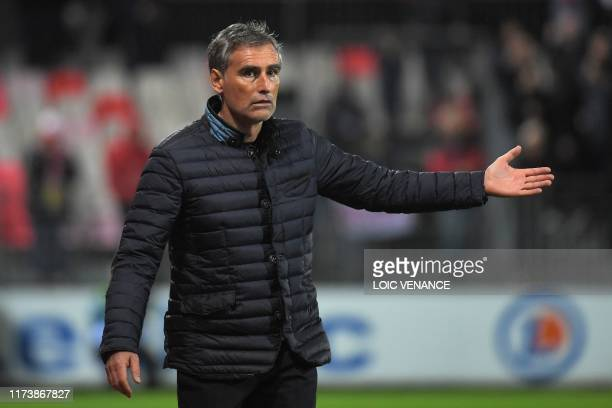 Brest's French head coach Olivier Dall'Oglio gestures during the French L1 football match between Stade Brestois 29 and Football Club de Metz at the...