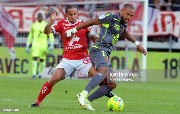Brest's French midfielder Bruno Grougi vies with GazelecAjaccio's French midifelder Remi Mulumba during the French Ligue 2 football match Brest...