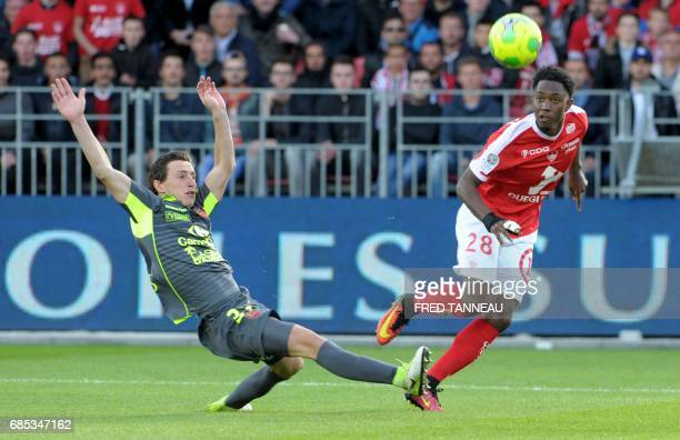 Brest's French midfielder Steven JosephMonrose vies with GazelecAjaccio's French midifelder Thibault Campanini during the French Ligue 2 football...