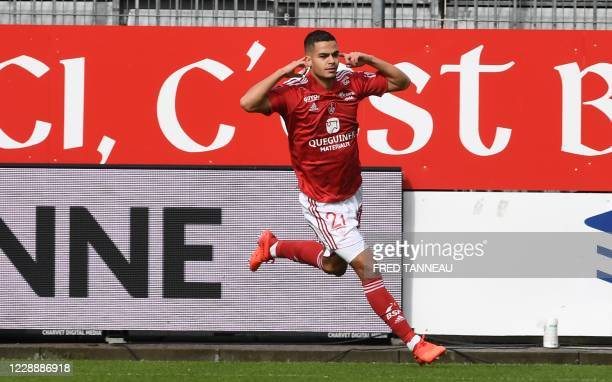 Brest's French-Cameroonian defender Jean-Charles Castelletto celebrates after scoring a goal during the French L1 football match between Brest and...