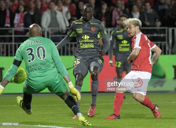 Brest's ItalianArgentian midfielder Cristian Battochio scores during the French Ligue 2 football match Brest against GFC Ajaccio on May 19 2017 at...