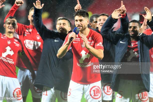 Brest's players celebrate after the French L1 football match between Stade Brestois 29 and Dijon Football Cote-D'Or at the Francis Le Ble stadium in...