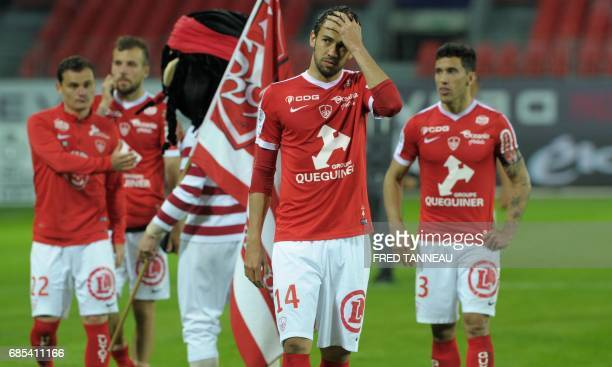 Brest's players reacts after the French Ligue 2 football match Brest against GFC Ajaccio on May 19 2017 at the Francis Le Blé stadium in Brest...