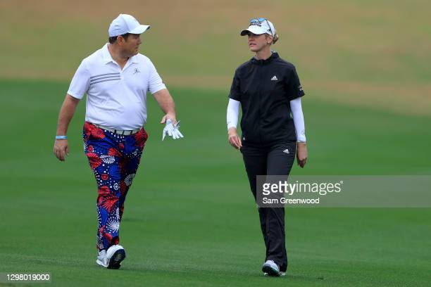 Bret Baier of Fox News and Jessica Korda walk down the fourth hole during the third round of the Diamond Resorts Tournament Of Champions at Tranquilo...